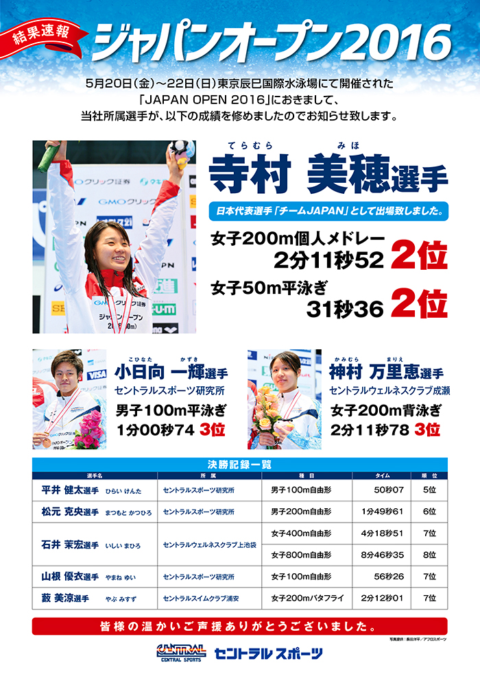 1605ジャパンオープン競泳WEB結果ck